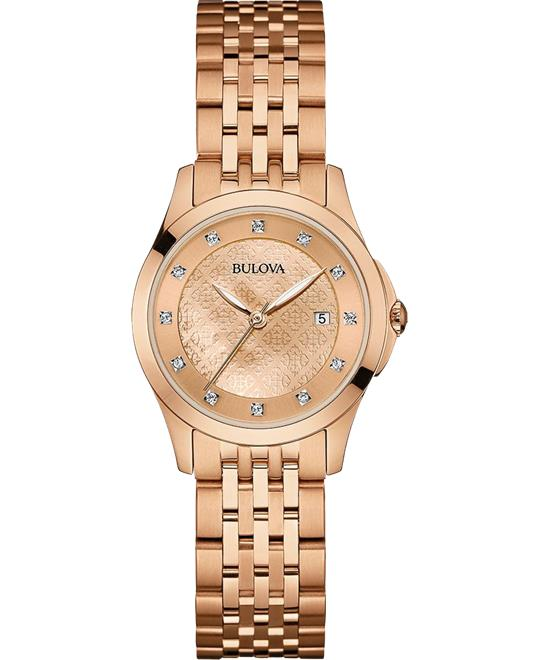 Bulova Diamond Rose Gold Watch 27mm