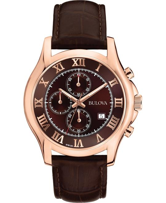 Bulova Chronograph Brown Watch 43mm