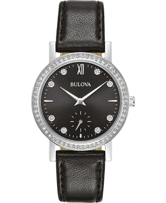 đồng hồ nữ Bulova Crystal Black Leather Strap Watch 32mm