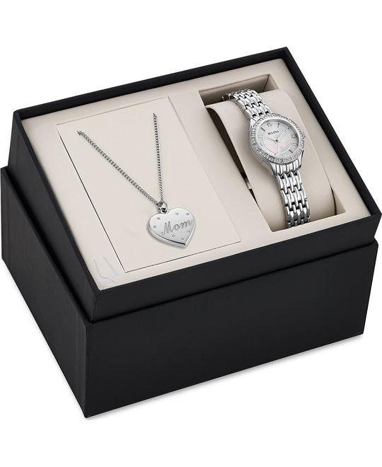 Bulova Crystal Mom Pendant Necklace Watch Set 26mm
