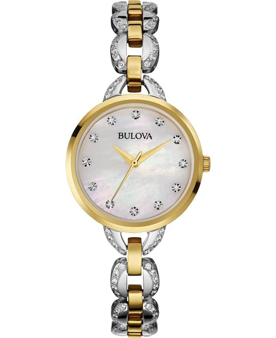 Bulova Facets Crystal Gold-Tone Watch 28mm