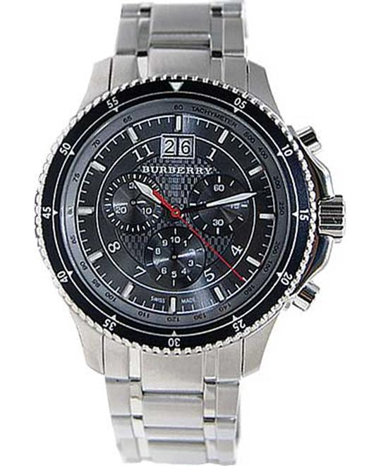 Burberry Endurance Chronograph Black Steel Sport Mens Watch 42mm