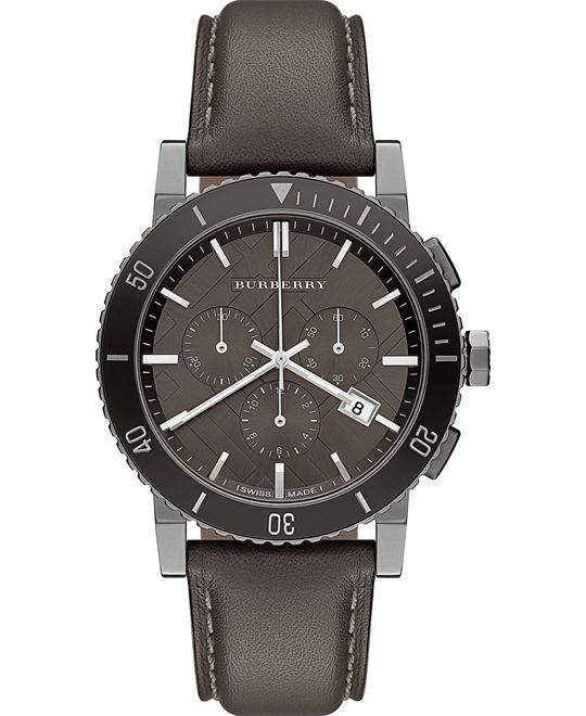Burberry The City Men's Swiss Leather Strap Watch 42mm