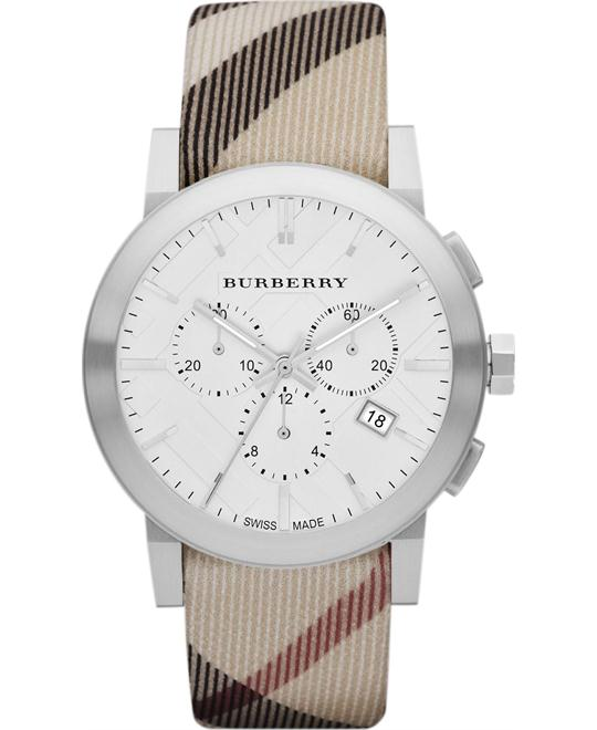 Burberry The City Mens Leather Strap Watch 42mm