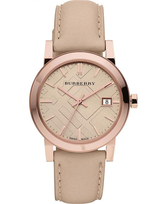 Burberry The City Women's Beige Leather Strap Watch 34mm