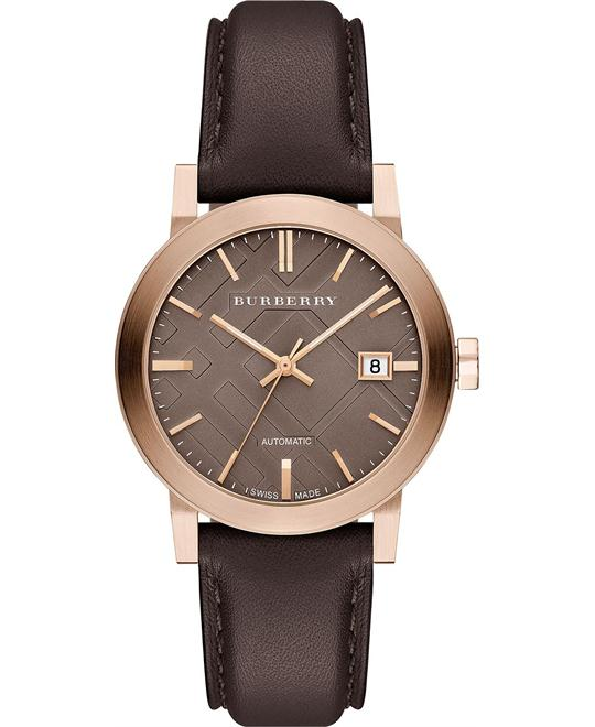 Burberry The City Unisex Swiss Leather Strap 38mm