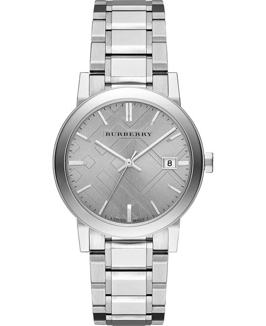 Burberry The City Check Stamped Unisex Swiss Watch 38mm