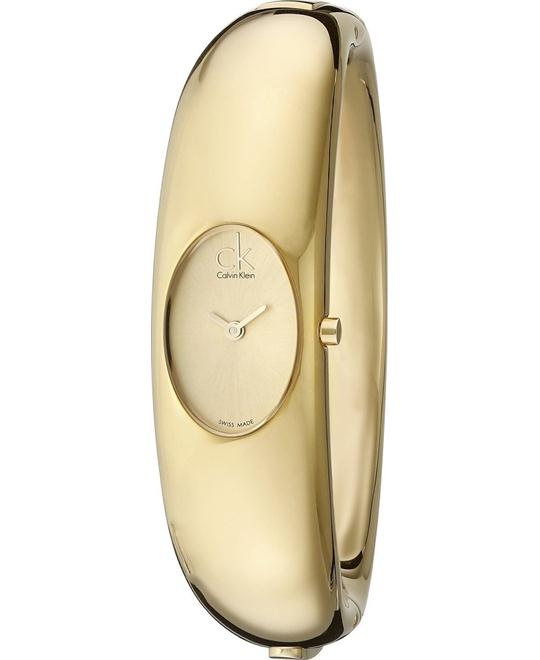 dong ho CALVIN KLEIN 'EXQUISITE' GOLDTONE BANGLE WATCH 18MM