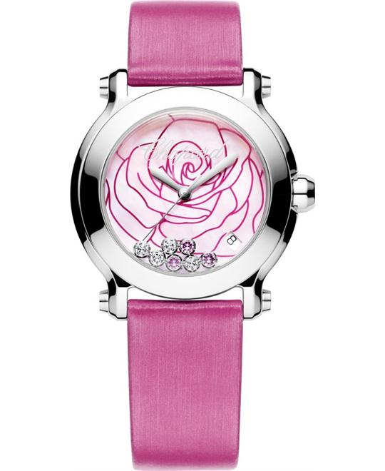 Chopard 278475-3029 Happy Pink Satin Strap Watch 36mm