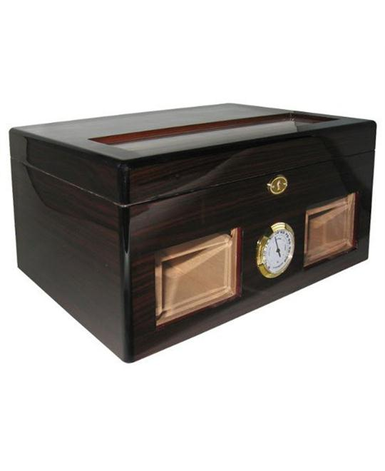 Ciger Cuban Crafters Ebony Bravo Negro Glass Top Humidor with Windows 120 Count