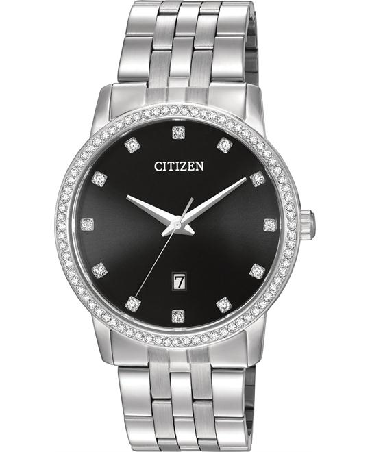 đồng hồ cặp đôi Citizen BI5030-51E Crystal Stainless Steel Watch 40mm