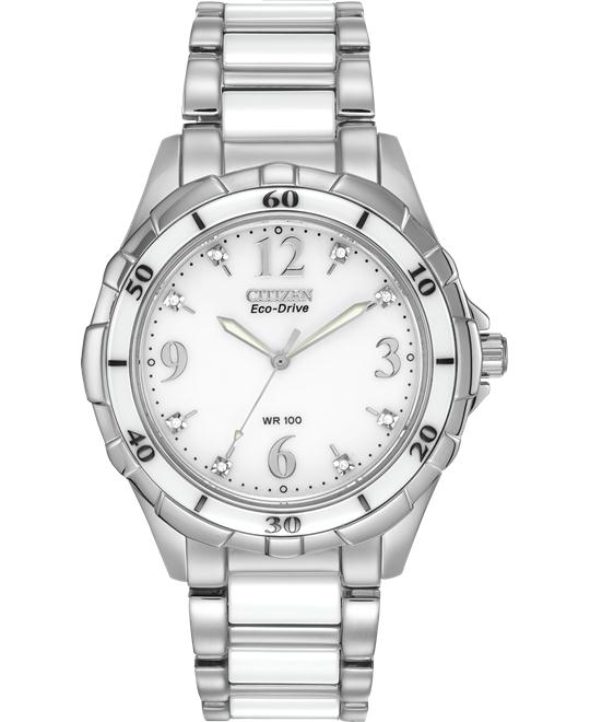 CITIZEN Ceramic Eco-Drive Diamond Watch 38mm