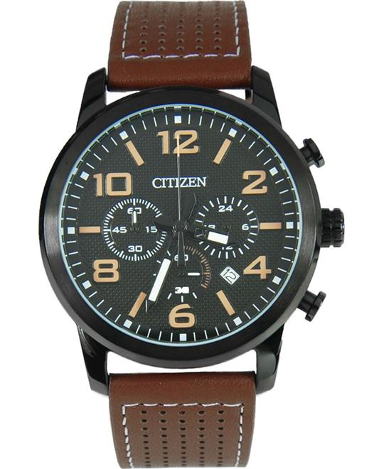 Citizen Men's Chronograph Leather Strap Watch 42mm