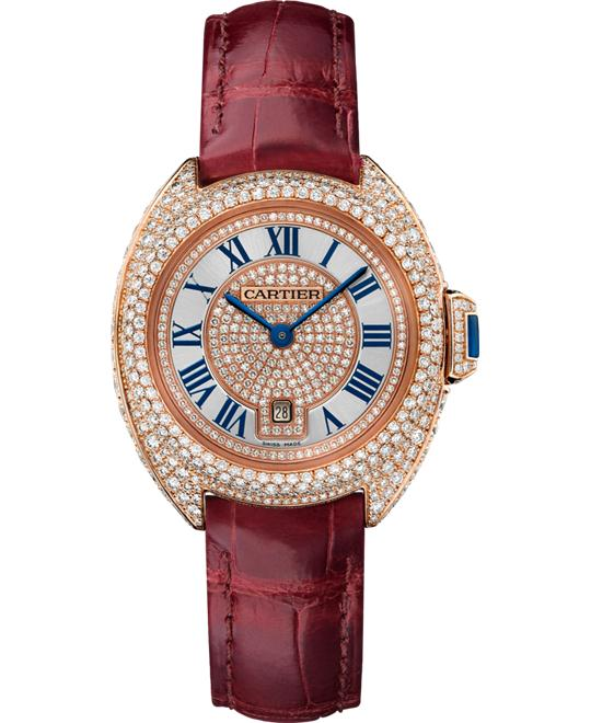 DONG HO NU CARTIER CLÉ DE WJCL0035 18K PINK GOLD DIAMONDS 31MM