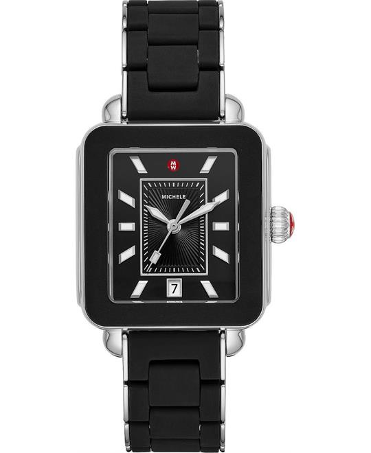 Deco Sport Silver Black Wrapped Silicone Watch 34mm x 36mm