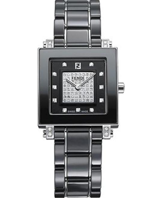 Fendi F625110DPDC Ceramic Diamond Watch 18mm