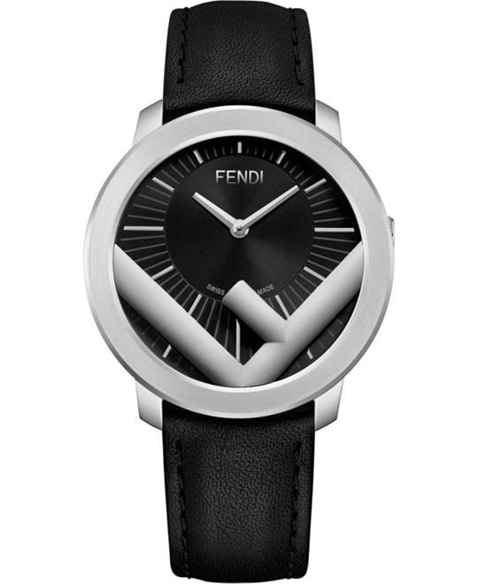Fendi Logo F710011011  Run Away Black Dial Watch 41mm