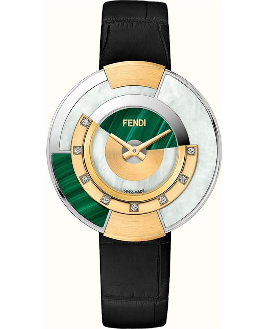 FENDI POLICROMIA FOR448SZZF07S4 DIAMONDS WATCH 38MM