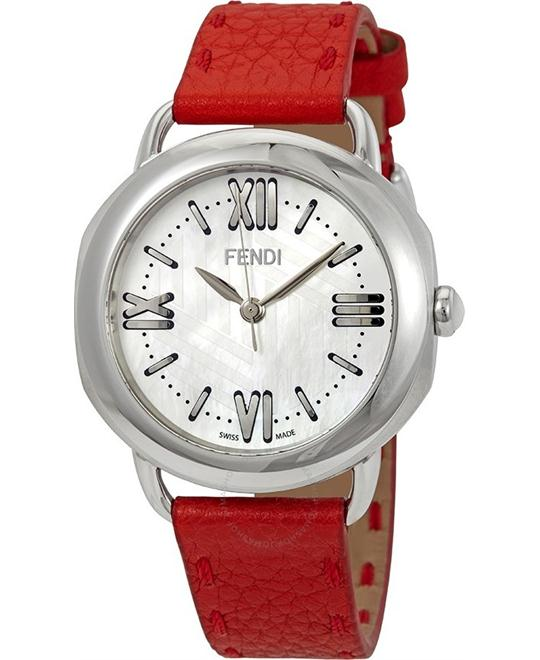 FENDI Selleria F8020345H0LL2-RD Red Leather Watch 36mm
