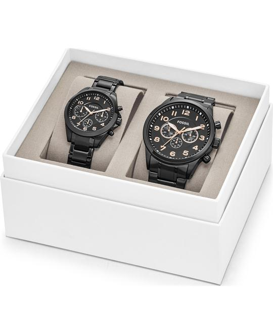 Fossil BQ2278SET Grant Black Stainless Steel Watch 44-35mm