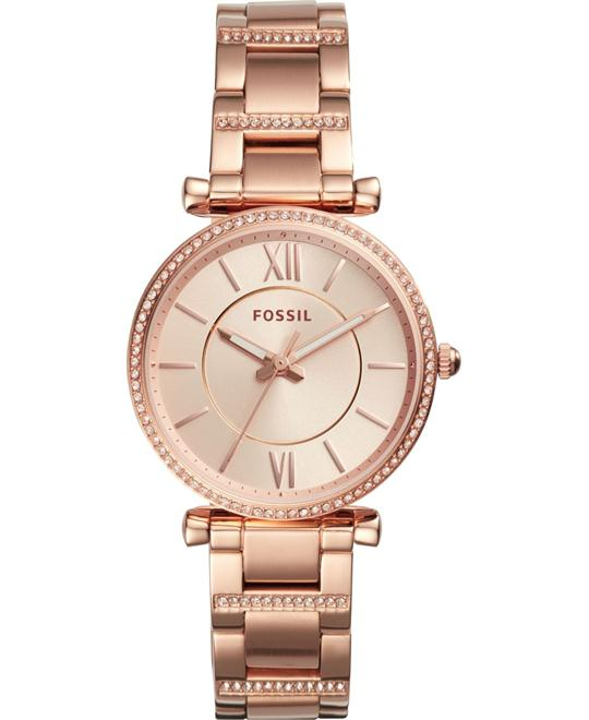 Fossil Carlie Three-Hand Rose Goldtone Watch 35mm