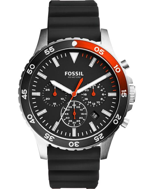 Fossil Crewmaster Sport Chronograph Black Silicone Watch 46mm