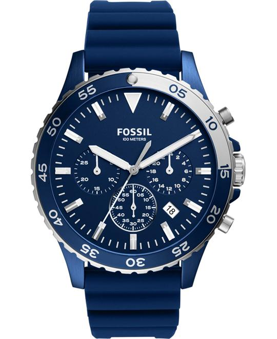 Fossil Crewmaster Sport Chronograph Blue Silicone Watch 46mm
