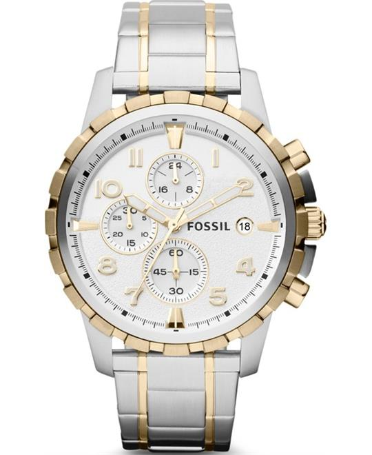 Fossil Dean Chronograph Silver Dial Watch 45mm