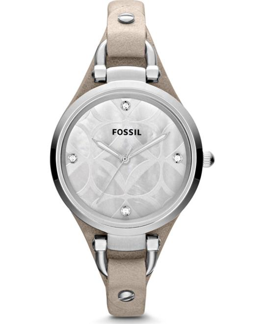 Fossil 'Georgia' Leather Strap Watch, 32mm Bone