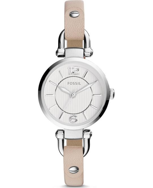 FOSSIL Georgia White Dial Beige Leather Ladies Watch 26mm