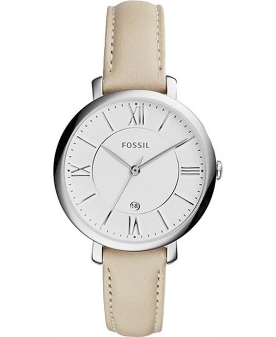 Fossil Jacqueline White Dial Leather Watch 36mm