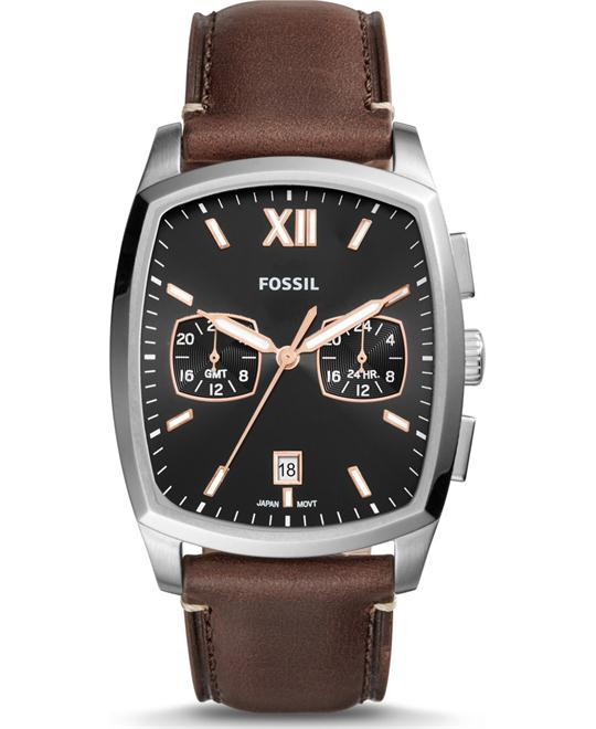 Fossil Knox Dual Time Brown Watch 38x32mm