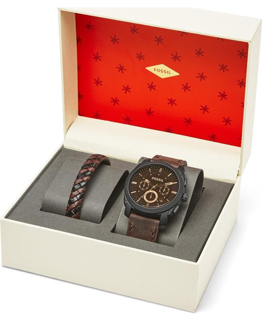 Fossil Machine Dark Brown Watch Set 42mm