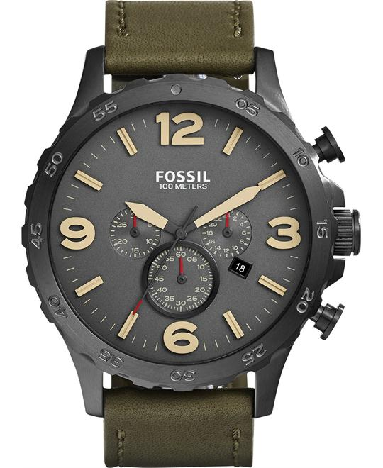 Fossil Men's Chronograph Nate Olive Watch 50mm