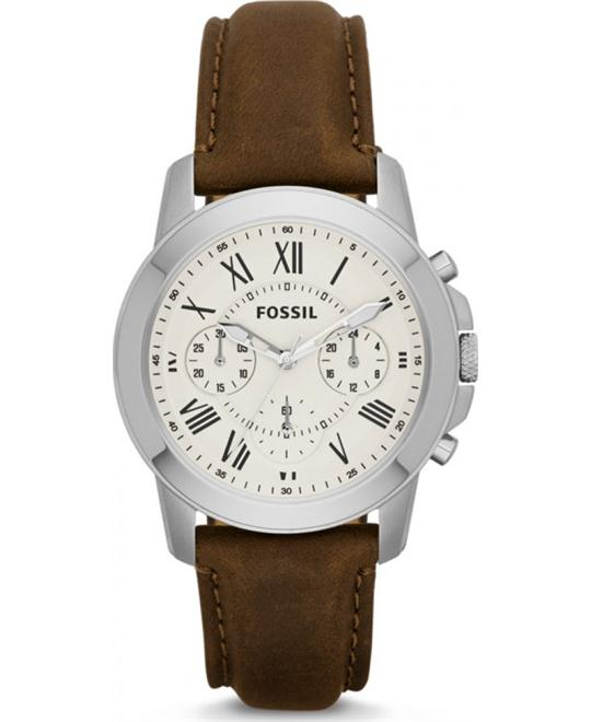 Fossil Grant Chronograph Leather Watch 38mm