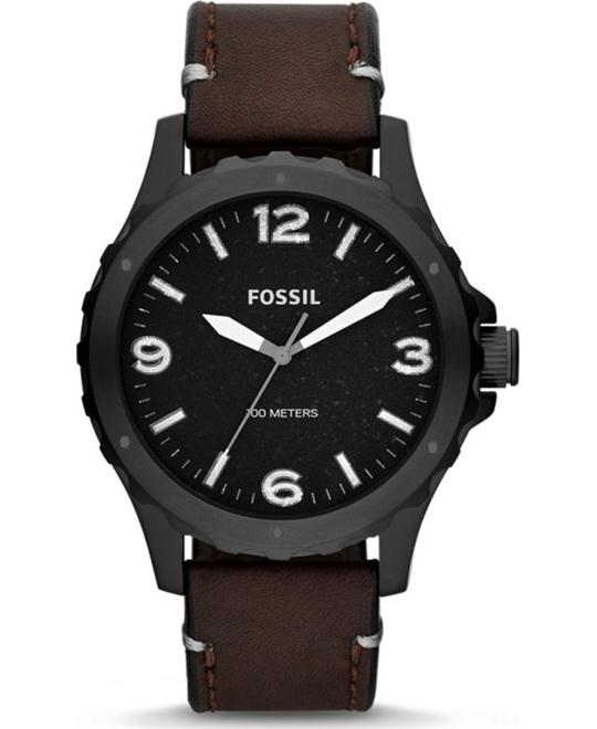 Fossil Men's Nate Analog Quartz Brown Watch 45mm