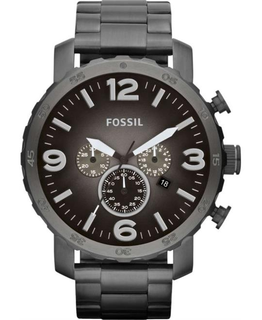Fossil Nate Chronograph Smoke Grey Dial Watch 50mm