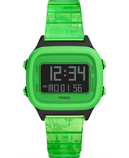 Fossil Retro Digital LCD Neon Green Nylon Watch 40mm