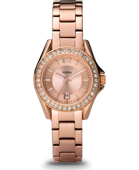 FOSSIL RILEY MINI ROSE-TONE STAINLESS WATCH 30MM