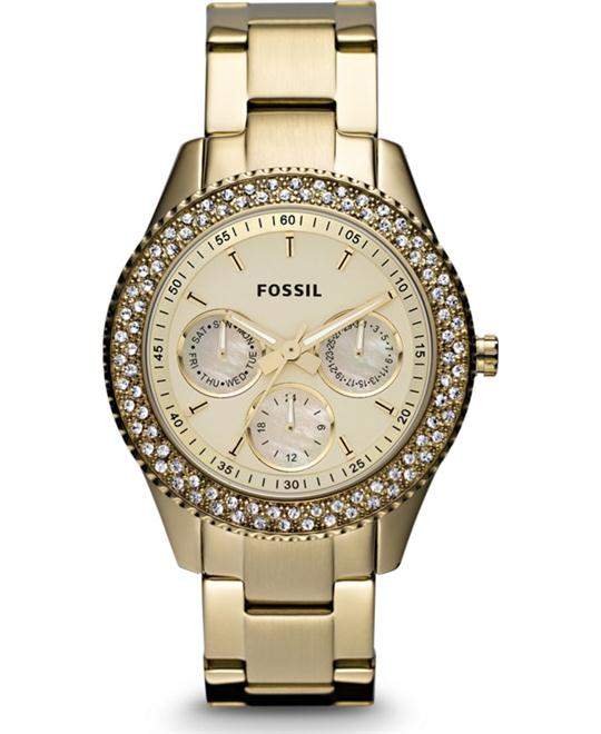 Fossil 'Stella' Crystal Bezel Bracelet Watch, 37mm Gold