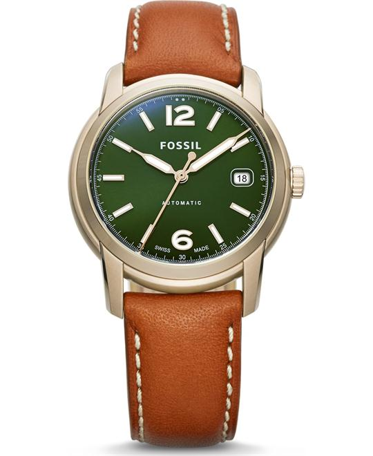 FOSSIL SWISS FS-5 SERIES BROWN LEATHER WATCH 38MM