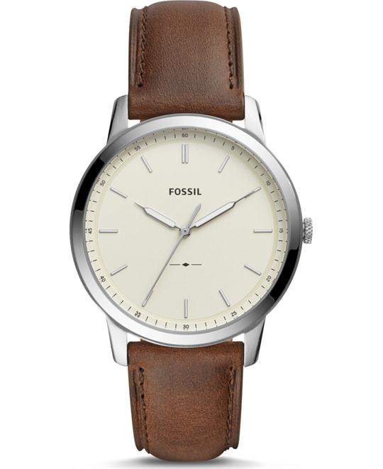 Fossil The Minimalist Three-Hand Brown Watch 44mm