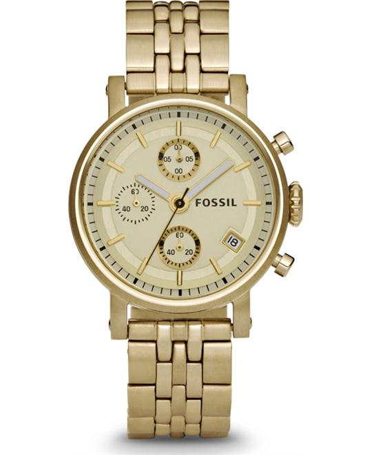 Fossil Unisex Chronograph Gold Tone Watch 38mm