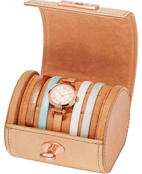 Fossil Women's Georgia Three-Hand Leather Watch Set 26mm