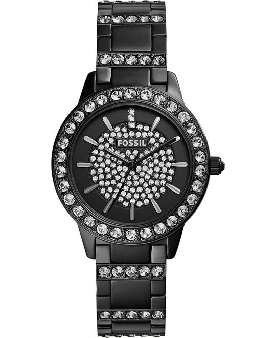 Fossil Women's Jesse Crystal Accent Black-Tone Watch 34mm