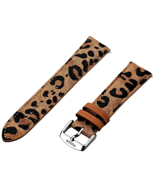 Fossil Women's Leather Watch Strap - Cheetah Print 20mm