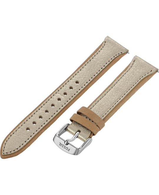Fossil Women's Leather Watch Strap - Gold Metallic 18mm