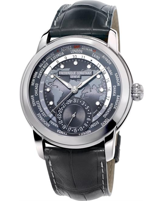 MSP: 90690 Frederique Constant FC-718DGWM4H6 Worldtimer Watch 42mm