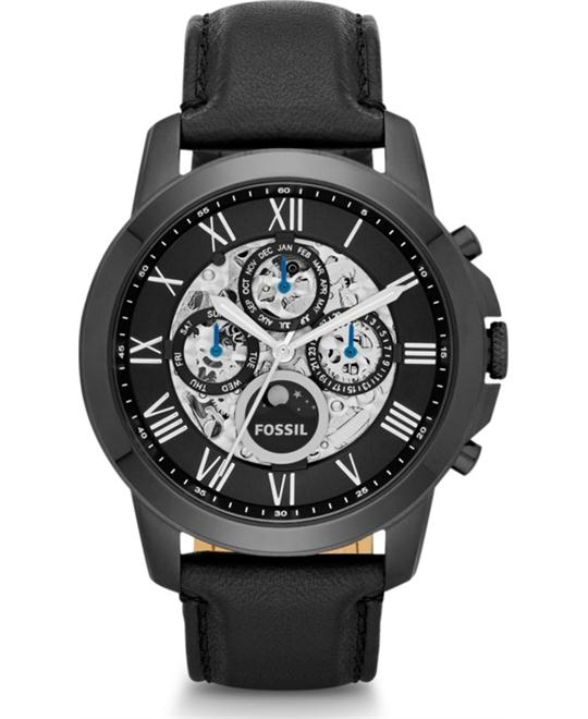Fossil Grant Automatic Men's Black Leather Watch 44mm
