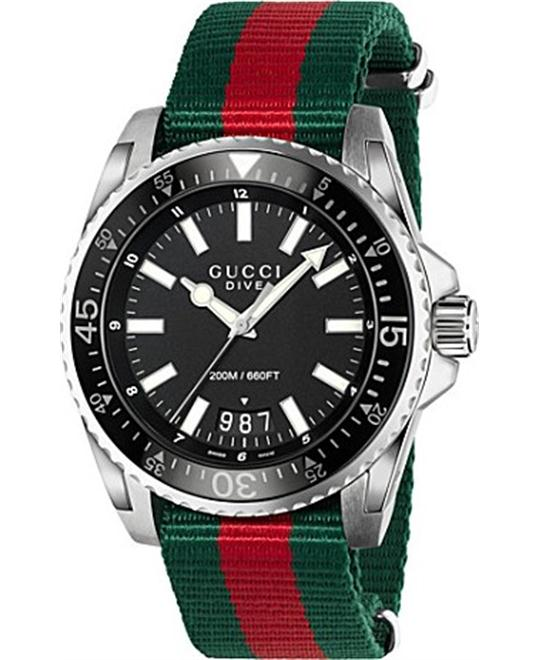 GUCCI Dive Black Dial Red and Green Watch